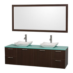 "Wyndham Collection - Amare 72"" Espresso Double Sink Vanity Set w/ Green Glass Top & 70"" Mirror - Modern clean lines and a truly elegant design aesthetic meet affordability in the Wyndham Collection Amare Vanity. Available with green glass or pure white man-made stone counters, and featuring soft close door hinges and drawer glides, you'll never hear a noisy door again! Meticulously finished with brushed Chrome hardware, the attention to detail on this elegant contemporary vanity is unrivalled."