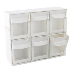 Modular Flip-Out Bins - The Container Store's flip-out bins are not specifically made for kids' art supplies, but they make a great stylish storage option that kids won't outgrow. Each set can be joined vertically or horizontally and can be mounted to the wall.