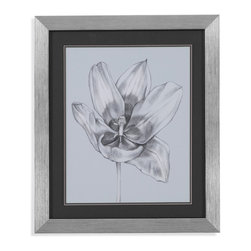 Bassett Mirror - Bassett Mirror Framed Under Glass Art, Silver Blue Tulips II - Silver Blue Tulips II