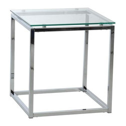 Eurostyle - Eurostyle Sandor Square Glass Side Table w/ Clear Glass Top & Chrome - Square Glass Side Table w/ Clear Glass Top & Chrome belongs to Sandor Collection by Eurostyle The proportions of these three tables (coffee, side and console) are iconic to say the least. Tops in clear or pure white glass float on perfectly geometric chrome steel bases. We're talking Museum of Modern art here. Not really. But it's the right thing to do. Side Table (1)
