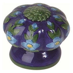 Atlas Homewares - Atlas Ceramic Tuscan/European 1 1/2-Inch Door Knob Blue Fluted Flowers - Atlas Ceramic Tuscan/European 1 1/2-Inch Door Knob Blue Fluted Flowers