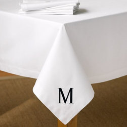 Caterer's Tablecloth, White - Simple yet sophisticated with a monogram, this would be a great gift for a newlywed couple — or just for yourself!