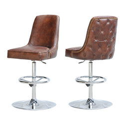 Four Hands - Hipster Swivel Barstool - Doesn't your room need a little rumpus? This retro-inspired bar stool is just the ticket. The barrel-back seat features button-tufted leather and nailhead trim, and the swiveling, adjustable base means you can belly up to any bar in style and ease.