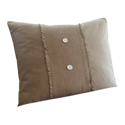 Taylor Linens - Hampton Tobacco Porch Pillow - You'll adore the linen voile adorning this divine porch pillow. Outfitted with mother-of-pearl buttons and cheeky ruffled flourishes, this oversize pillow comes complete with a feather and down insert for long-lasting comfort.