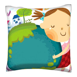 Custom Photo Factory - Girl Loving the Earth Polyester-Velour Throw  Pillow - Girl Loving the Earth. 18 Inches x 18 Inches Pillow. Made in Los Angeles, CA, Set includes: One (1) pillow. Pattern: Full color dye sublimation art print. Cover closure: Concealed zipper. Cover materials: 100-percent polyester velour. Fill materials: Non-allergenic 100-percent polyester. Pillow shape: Square. Dimensions: 18.45 inches wide x 18.45 inches long. Care instructions: Machine washable
