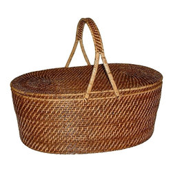 Eco Displayware - Oval Rattan Picnic Basket w Handle in Brown - Great for closet, bath, pantry, office or toy and game storage. Earth friendly. 22 in. L x 13 in. W x 8 in. H (8.32 lbs.)These natural colored baskets add warmth and charm and keep you organized.