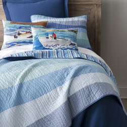 "Horchow - Twin Ocean Wave Quilt, 66"" x 86"" - Created from original artwork by Kevin O'Brien, digitally printed pillows with watercolor speedboat vignettes evoke the spirit of summer. Pillows are cotton with feather/down fill. Dry clean. Imported. ""Ocean Wave"" quilted linens are also cotton. Mac..."