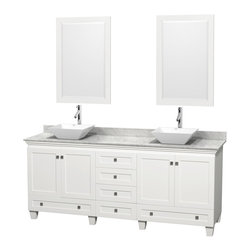 "Wyndham Collection - 80"" Acclaim White Double Vanity w/ White Carrera Top & Pyra White Porcelain Sink - Sublimely linking traditional and modern design aesthetics, and part of the exclusive Wyndham Collection Designer Series by Christopher Grubb, the Acclaim Vanity is at home in almost every bathroom decor. This solid oak vanity blends the simple lines of traditional design with modern elements like beautiful overmount sinks and brushed chrome hardware, resulting in a timeless piece of bathroom furniture. The Acclaim comes with a White Carrera or Ivory marble counter, a choice of sinks, and matching mirrors. Featuring soft close door hinges and drawer glides, you'll never hear a noisy door again! Meticulously finished with brushed chrome hardware, the attention to detail on this beautiful vanity is second to none and is sure to be envy of your friends and neighbors"