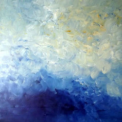 Fluctuate (Original) By K. Rishay Moehr - FLUCTUATE is an abstract art painting that depicts the sky during a summer monsoon.