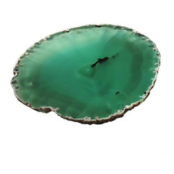 Small Agate Plates Set of 2 - Using agate as plates is an outstanding alternative to regular dishware. As a guest, I would be thrilled to be served hors d'oeuvres on such an impressive plate. Agate comes in a variety of colors; use a slab to bring a sophisticated air to your party.