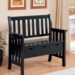 Coaster - Black Transitional Bench - Black storage bench made from select hardwoods and features three storage drawers.