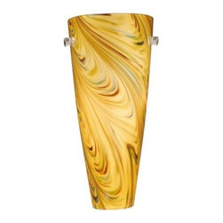 Vaxcel Milano Wall Sconce with Mocha Swirl Glass - 5.75-watt in. Satin Nickel - The modern feel of the Vaxcel Milano Wall Sconce with Mocha Swirl Glass - 5.75-watt in. Satin Nickel is hard to deny, but it's also hard to turn away. Imagine the effect that a few of these would have as they add a warm accent light to your home or business. Each fixture requires a 60-watt candelabra bulb and is fastened with elegant, brushed nickel hardware.About Vaxcel LightingFor over 20 years, Vaxcel International has been a premier supplier of residential lighting products. Based in Carol Steam, Ill., Vaxcel's product line is composed of more than 2,000 items, ranging from builder-ready fixtures and ceiling fans to designer chandeliers and lamps, in the latest styles and finishes. They're known in the industry for offering a full selection of products at competitive prices.