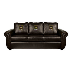 Dreamseat Inc. - US Army Chesapeake Brown Leather Sofa - Check out this Awesome Sofa. It's the ultimate in traditional styled home leather furniture, and it's one of the coolest things we've ever seen. This is unbelievably comfortable - once you're in it, you won't want to get up. Features a zip-in-zip-out logo panel embroidered with 70,000 stitches. Converts from a solid color to custom-logo furniture in seconds - perfect for a shared or multi-purpose room. Root for several teams? Simply swap the panels out when the seasons change. This is a true statement piece that is perfect for your Man Cave, Game Room, basement or garage.