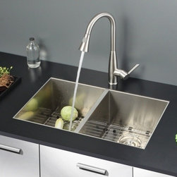 Ruvati - Ruvati RVC2330 Stainless Steel Kitchen Sink and Stainless Steel Faucet Set - Ruvati sink and faucet combos are designed with you in mind. We have packaged one of our premium 16 gauge stainless steel sinks with one of our luxury faucets to give you the perfect combination of form and function.