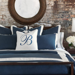 Indigo/Shell Border Duvet Cover - Give your bedroom an utterly elegant treatment with sleek indigo and white trimming.
