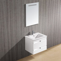 """Vigo Industries - Vigo 24"""" Ethereal-Duece Single Bathroom Vanity with Mirror - White Gloss - Features: Vigo Ethereal is a wall mounted white gloss contemporary style vanity with a white ceramic single-hole sink This art nouveau inspired vanity has two stylish drawers with soft closing hardware Features artistic chrome pull accents Mirror contains matching trim and built in horizontal light This vanity is a stunning focal point to any bathroom Cabinet is made from a solid engineered wood with white gloss finish, which consists of an anti-scratch paint surface for enhanced durability and frequent use Contains one white, top-mount ceramic sink with a single hole for a faucet Cabinet is shipped assembled Vanity is fabricated for wall mount installation with all mounting hardware included Solid brass, chrome-plated drain assembly included Includes mirror with horizontal light strip at top 5 Year Limited Warranty Cabinet measures (Including sink): H - 20 1/2"""" W - 24"""" D - 18 3/8"""" Mirror Dimensions: H - 29 3/4"""" W - 21 3/4"""" How to handle your counter View Spec Sheet"""