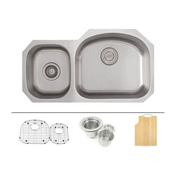 """TCS Home Supplies - 32 Inch Stainless Steel Undermount Double D-Bowl Offset Kitchen Sink FREE ACCESS - Premium 16 Gauge Stainless Steel Kitchen Sink Value Package. Package comes with Matching Protective Grid Set, Deluxe Basket Strainer, Eco-Friendly Bamboo Cutting-board. 60/40 Offset Double Bowl. Undermount Installation. Brushed Stainless Steel Finish. Dimensions 32"""" x 17-3/4"""" x 7"""" 