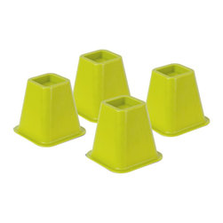 Honey Can DO - Bed Risers - Green, Set of 4 - Create an extra 5.25 of under-the-bed-space with our bed risers. They fit posts up to 2.75 in diameter or width and each riser boasts a 350 pound weight capacity. Perfect for dorm rooms, apartments, and kids rooms, where a little extra space can go a long way. Available in orange, green, blue, pink and ivory.