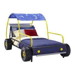 Powell - Powell Dune Buggy Car Twin Sized Bed X-830-409 - Get your child ready to drive off into dreamland on the Dune Buggy Car Twin Bed. This fun twin size bed is the perfect centerpiece to your race car loving child's bedroom. The metal shaped bed is reminiscent of a dune buggy and features realistic wheels, headlights and bumpers. A star and moon canopy hangs over a portion of the car. The blue, silver, black and yellow finish is the perfect color scheme for a little boy's room. Fits a standard twin size mattress, sold separately.  Some Assembly Required.