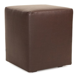 Howard Elliott - Avanti Pecan Universal Cube Ottoman - Avanti Cubes are the perfect blend of downtown style and uptown sophistication. This luxurious faux leather fabric will entice your fashion senses with its supple leather look and feel. The simple design of the Avanti Cubes makes them great to use as side tables, ottomans, alternate seating and more.