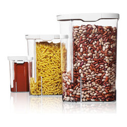 Quirky - Quirky Silo Pour To Measure Food Storage Container Set - The ultimate food containers for a busy lifestyle! These clever containers are perfect for storing and dispensing foods ranging in size from granulated sugar to cereal or pasta. Perfect solution for portion control or simply to add convenience to the kitchen. This set includes one each of the following containers: