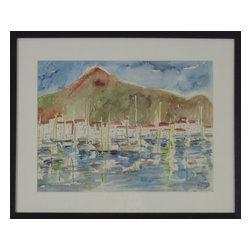 Consigned Original Sailboat Watercolor Painting, Puerta Banos - Original watercolor of Boating Community, Puerta Bonas.
