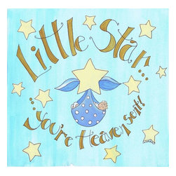 Stupell Industries - Little Star You're Heaven Sent Boy's Square Wall Plaque - Made in USA. MDF Fiberboard. Hand finished and packed. Approx. 12 in. W x 12 in. L. 0.5 in. ThickThe Kids Room by Stupell features exceptional handcrafted wall decor for children of all ages.  Using original art designed by in-house artists, all pieces feature hand painted and grooved borders as well as colorful grosgrain ribbon for hanging.  Made in the USA, everything found in The Kids Room by Stupell exudes extraordinary detail with crisp vibrant color. Whether you are looking for one piece to match an existing room's theme, or looking for a series to bring the kid's room to life, you will most definitely find what you are looking for in The Kids Room by Stupell.