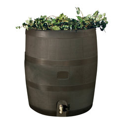 RTS Companies Inc - Round Rain Barrel with Planter - Mud - Embrace nature's solution to our emerging water Shortage-Collect rainwater! Our authentic oak barrel texture is molded into each barrel and will not fade, rot or risk insect infestation. the RTS home accents rain barrel has many unique
