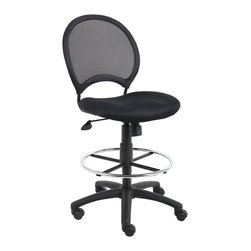 """Boss Chairs - Boss Chairs Boss Mesh Drafting Stool - Open mesh back with solid metal back frame with ballistic nylon wrap. Breathable mesh fabric seat with ample padding. 25"""" nylon base. Hooded double wheel casters. Pneumatic gas lift seat height adjustment. 20"""" diameter chrome footring. Loop arms."""