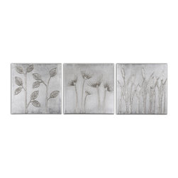 Uttermost - Sterling Trio Canvas Art Set/3 - Hand Painted Artwork On Canvas Is Stretched And Mounted To Wooden Stretching Boards. A Glossy Finish Is Added For Extra Definition. Due To The Handcrafted Nature Of This Artwork, Each Piece May Have Subtle Differences.