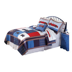 Pem America - Cars Full/Queen Quilt With 2 Pillow Shams - Do you have the next car enthusiast?  Our Cars quilt combines cars with classic patchwork construction.  The drop of the quilt features hand pieced, classic plaid patterns with a dominant blue tone.  The deck of the quilt user red, white, and blue colors to make a statements and the large scale car icons are appliqued to the face of the quilts and shams. Hand crafted set includes 1 full/queen quilt (86x86 inches) and 2 standard shams (20x26 inches). Face cloth is prewashed 100% natural cotton.  Fill is 94% cotton / 6% other fibers. Hand crafted with embroidery. Machine Washable.