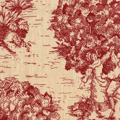 "Close to Custom Linens - Curtain Panels, Crimson Toile, Crimson Red, 96"", Lined - A charming traditional toile print in crimson on a beige background."
