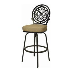 Pastel - Island Falls Outdoor Swivel Barstool - This beautifully designed outdoor barstool with its engaging mix of color and texture will take your outdoor living to a whole new place.