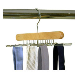 Proman - Simplicity Tie Hanger - Simplicity Tie Hanger. Holds 16 Ties. Natural wood color.
