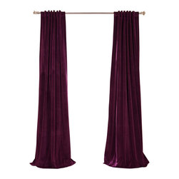 Exclusive Fabrics & Furnishings, LLC - Signature Eggplant Blackout Velvet Curtain - Keep the light out and the heat in with these luxurious, lustrous curtains. Crafted from soft poly velvet and available in a variety of rich colors, they'll give your windows the royal treatment.