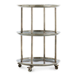 DuBois Bar Cart - With a practical design that includes three full-width shelves with raised edges in a relatively narrow footprint, as well as attractive locking wheels, the DuBois Bar Cart is a superb choice in the dining room, in the bath, and outdoors. Made from solid brass with a vintage silver finish, this attractive piece is perfect for open storage but also makes an unconventional presentation for traditional tea.