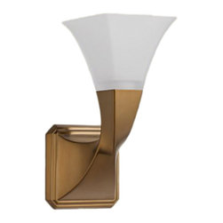 Brizo - Brizo 697030-BZ Virage Brushed Bronze Single Sconce Light Fixture - The Brizo 697030-BZ is a single sconce bath light fixture from Brizo's Virage design suite with elegant lines twisted for a hand Crafted Style and comes in a Brushed Bronze finish.