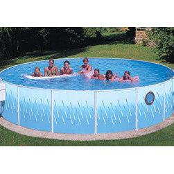 "Heritage - Deluxe with Porthole 12"" x 42"" Deep Splasher Pool - Pool Frame: Deluxe Galvanized Steel. Painted White"