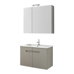 ACF - 32 Inch Matte Canapa Bathroom Vanity Set - This Italian-made bathroom vanity set features a waterproof panel made of engineered wood in a beautiful larch canapa finish.