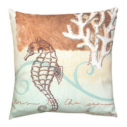 None - Watercolor Seahorse 20-inch Decorative Throw Pillow - Decorate your bed or couch in a fun seashore theme with this seahorse throw pillow that blends ocean-inspired graphics and a soft island color scheme. This polyester pillow holds up well to daily use, and it's fine for both indoors and outdoors.