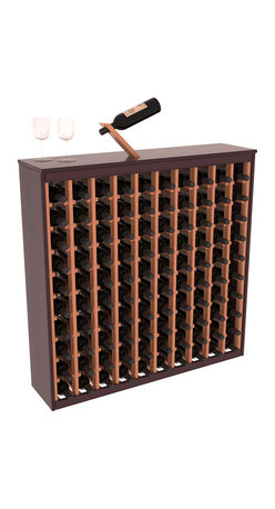 Two Tone 100 Bottle Deluxe Wine Rack in Redwood with Burgundy/Natural Stain - Styled to appear as wine rack furniture, this wooden wine rack will match existing decor while storing 100 bottles of wine. Designed to look like a freestanding wine cabinet, the solid top and sides promote the cool and dark storage area necessary for aging wine properly. Your satisfaction and our racks are guaranteed.  All Two-Tone racks include a professional grade eco-friendly satin finish and come with a free matching magic bottle balancer.