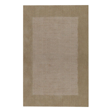 Riverdale rug in Stone - These sturdy, hand loomed area rugs are woven of 100% pure wool and sheared by hand for a smooth - yet durable - surface.  The cut pile border and textured field make a quiet decorative statement, and the array of available color choices help them fit easily into any decor.