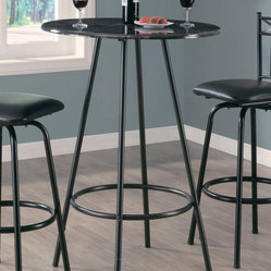 Monarch Specialties 2320 Round Marble Top Bar Table in Charcoal Metal
