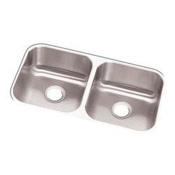 Elkay - Dayton Undermount Sink - DXUH3118 - Manufacturer SKU: DXUH3118. Material: Stainless SteelFaucet Holes: 0Thickness: 18 GaugeCode Compliance: IAPMOSound Deadening: Full SprayNumber of Bowls: 2Minimum Cabinet Size: 36 in.Sink Dimensions: 31 1/4 in. L x 17 3/4 in. WPrimary Bowl Depth: 8 in.Both Bowl Dim.: 14 in. x 15 3/4 in. x 8 in.Drain Size: 3 1/2 in.