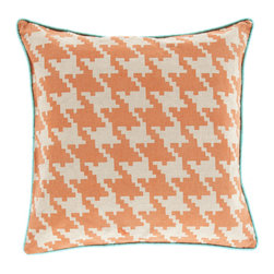 Surya - Houndstooth, Burnt Orange, 1818 Pillow - This pillow design adds flair to the popular houndstooth design. With a solid contrast welting contrasting against the pattern, this pillow can spice up any room. Made of 100% cotton and comes in seven colors and three sizes.