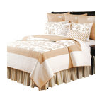 "C F Enterprises - Harlow Queen Quilt - The Harlow Queen Quilt is part of a bedding collection by C F Enterprises in cotton, in cream and warm taupe with embroidered floral images. The quilt measures 90"" x 92"" with a straight edge."