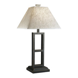 """Signature Design by Ashley - 27"""" Diedra Bronze Set of 2 Lamps L318924 - A set of two: Bronze-finishd base table lamps with natural linen square shades."""