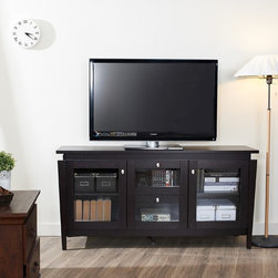 Furniture of America - Furniture of America Benston Coffee Bean Buffet Cabinet - Give your dining room more space and storage with this contemporary buffet cabinet. Featuring four cabinets with glass doors and an elevated top panel,this cabinet is ideal for displaying or storing items and gives your homes d�cor a fresh look.