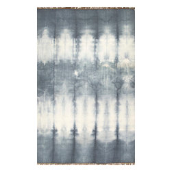 Jaipur Rugs - Flat-Weave Easy Care Wool Gray/Ivory Area Rug - Tie dye technique  adds pop of color to these flat-weave rugs. Origin: India