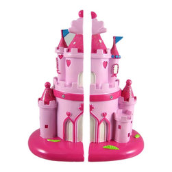 Pretty Pink Princess Castle Bookends - This adorable pair of bookends is a great addition to every little girl's room. Made of cold cast resin, each bookend features one half of a pretty pink castle. Each bookend measures 8 1/4inches tall, 5 inches deep and 3 1/4 inches wide. They'll make a fine gift for your little Princess.
